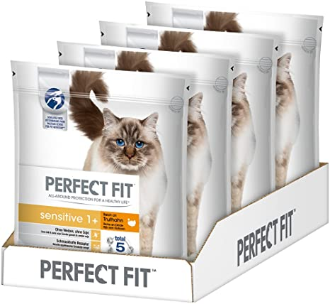 PERFECT FIT Alimento seco Gatos, pienso Sensitive 1+ Rico en Pavo, 4 Unidades