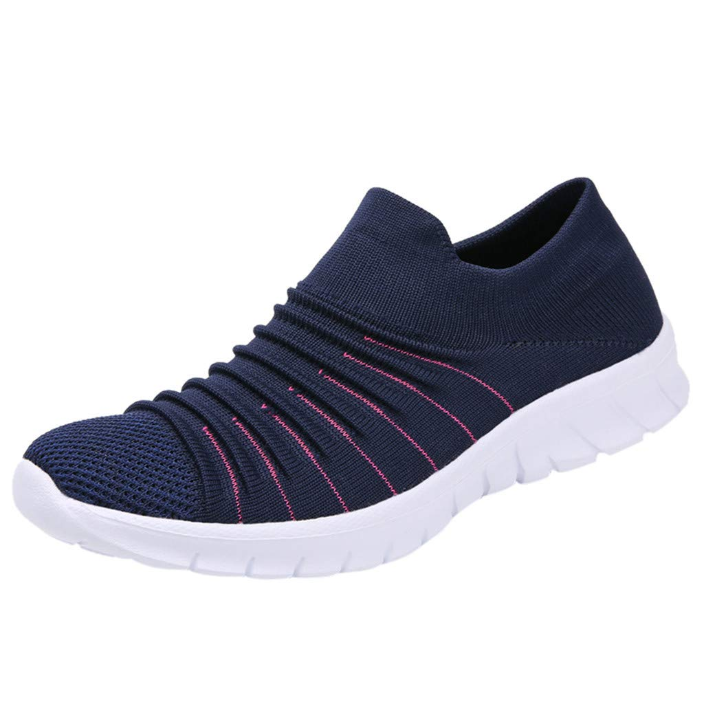 Women Casual Sneakers, LIM&Shop  Summer Outdoor Sports Shoes Mesh Breathable Loafers Soft Sole Flats Running Work Out Blue by LIM&SHOP-Sandals & Sneakers