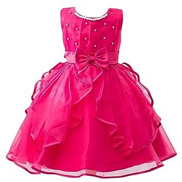 Niñas Vestido Elegante de Princesa de Gasa con Corbata de Moño para Boda Fiesta Rosa 110CM