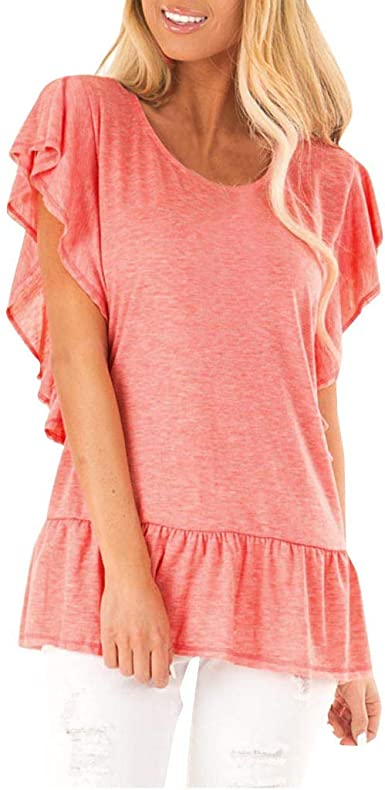 DOKER Womens Shirts and Blouses Solid Color Short Sleeve Button up Tunic Tops
