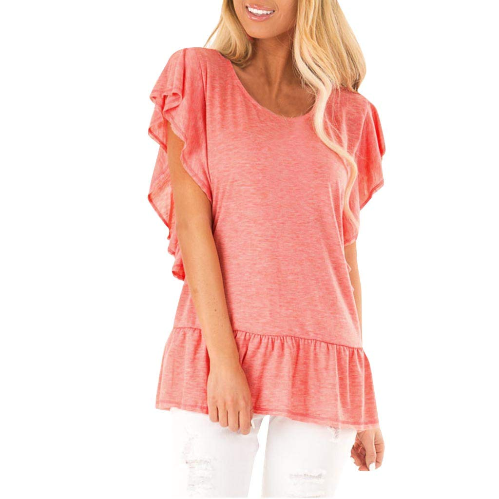 LIM&Shop Women Summer Top Plus Size Casual T-Shirt Short Sleeves Round Neck Ruffles Hem Shirt Loose Tunic Blouse Tee Pink by LIM&SHOP-Women Tops