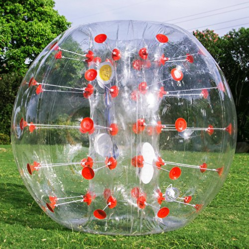 Popsport Inflatable Bumper Ball 4FT/5FT Bubble Soccer Ball 0.8mm Eco-Friendly PVC Zorb Ball Human Hamster Ball for Adults and Kids (4FT Red Dot) ()