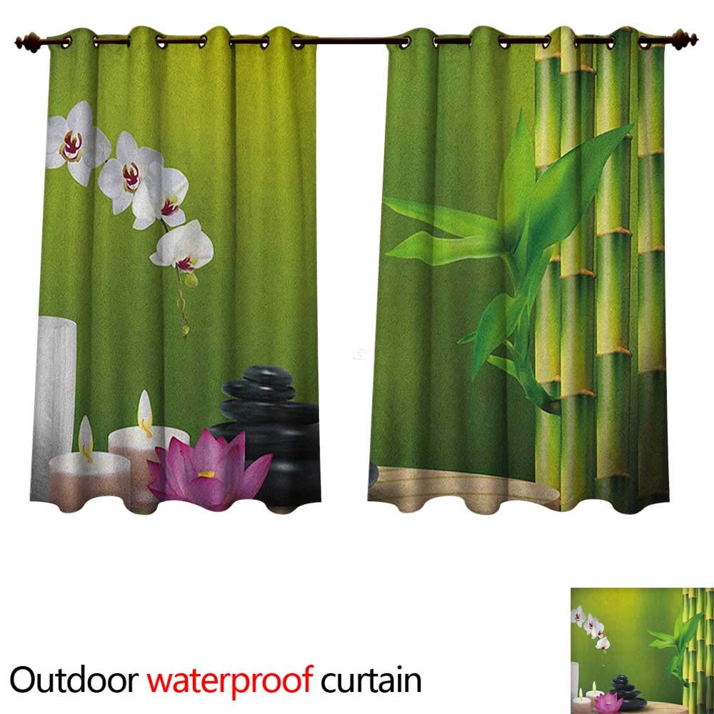 Spa Outdoor Curtains for Patio Sheer Bamboo Flower Stone Wax on The Table Orchid Rock Healthy Lifestyle Theme W120 x L72(305cm x 183cm)