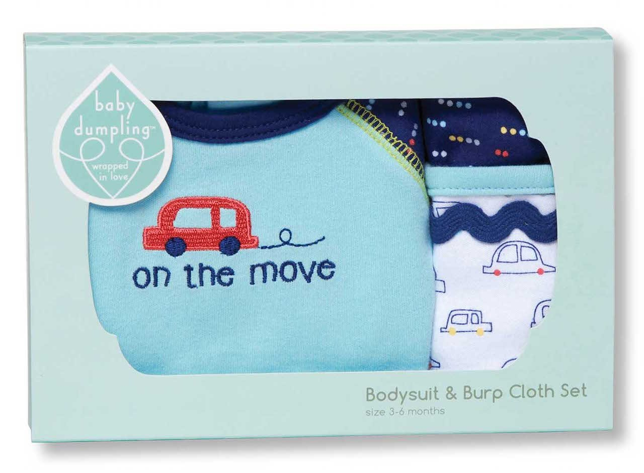 C.R. Gibson Bodysuit and Burp Cloth Set, Fits Sizes 3-6 Months, by Baby Dumpling - Beep-Beep