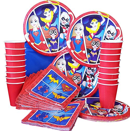 Wonder Pets Party Pack (DC superhero girls birthday party banner Plates Cups Napkins Tablecloth for 16)