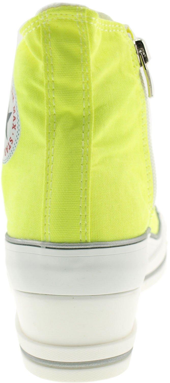 Maxstar Women's 7H Zipper B01G54B44A Low Wedge Heel Sneakers B01G54B44A Zipper 9 B(M) US|Neon Green 315183