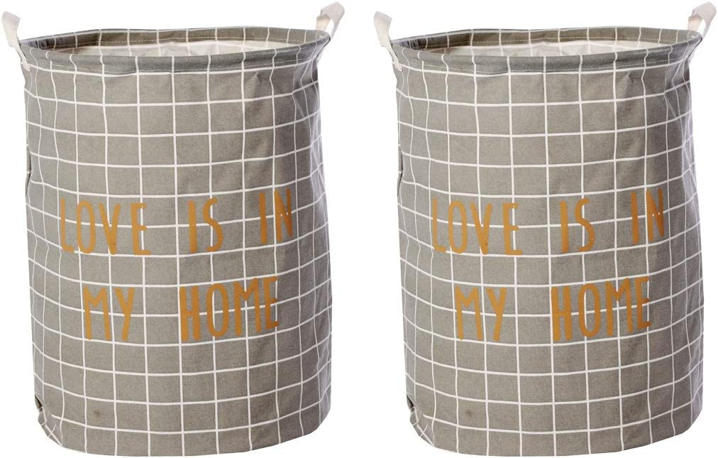2 Piece Modern Geometric Patterns Dirty Clothes Storage Bag Round Multifunction Linen Laundry Bag 30x45cm 11.8x17.7 inch