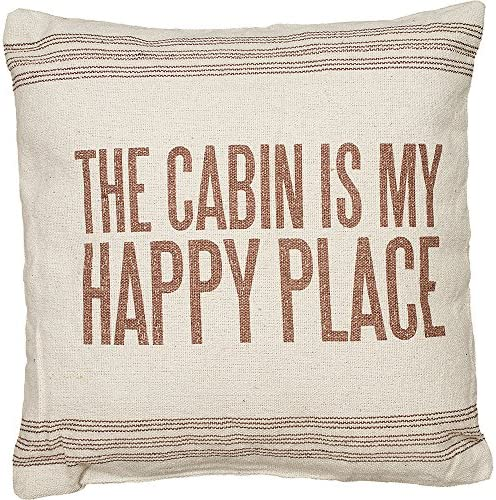 Primitives by Kathy Vintage Flour Sack Style The Cabin is My Happy Place Throw Pillow, 15-Inch Square