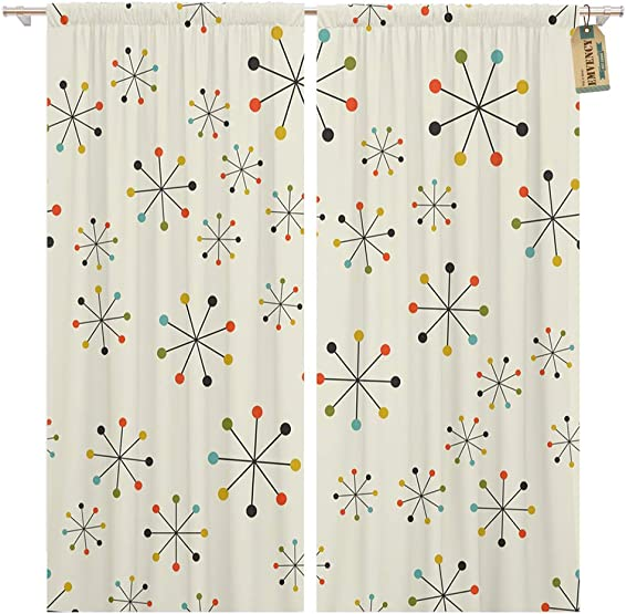 Golee Window Curtain 60S Mid Century Absctract Geometric Pattern Space Retro 1950S Home Decor Pocket Drapes 2 Panels Curtain 104 x 96 inche