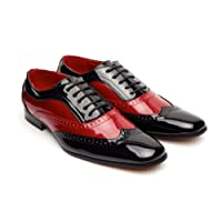 Mens 1940's Italian Vintage Spectator Two Tone, Black and Red/Blak and White Borsali, Brogue, Gangster Shoe, Oxford Style