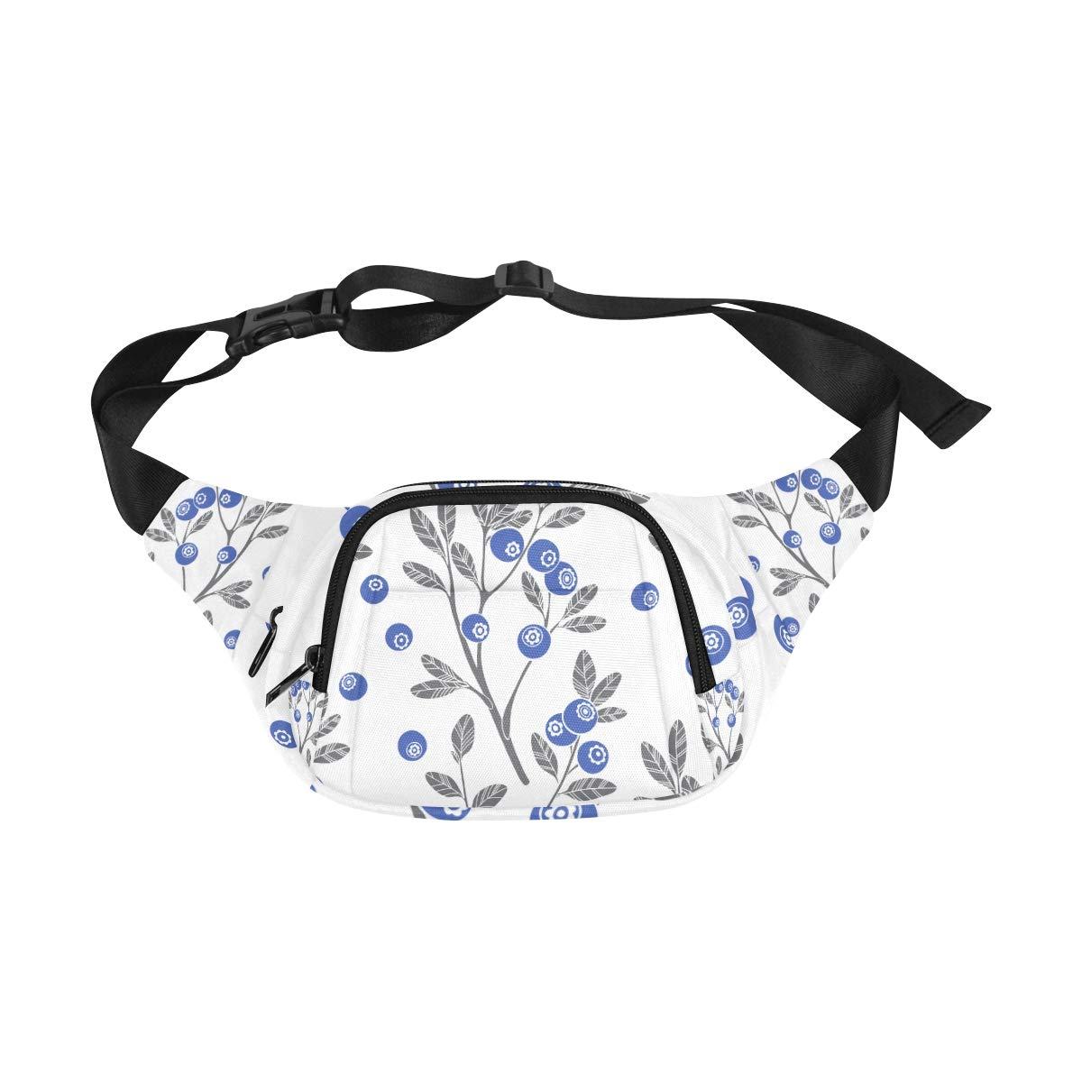 Delicious Blueberry Fruit Fenny Packs Waist Bags Adjustable Belt Waterproof Nylon Travel Running Sport Vacation Party For Men Women Boys Girls Kids