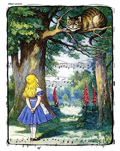 Alice in Wonderland Decorations, the Cheshire Cat, Fine Art Color Sheet Music Art Print 8x10 Wccm810 ()