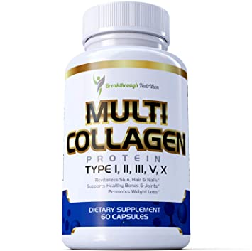 Multi Collagen Supplement by Breakthrough Nutrition - All 5 Types I, II,  III, V, X Hydrolyzed