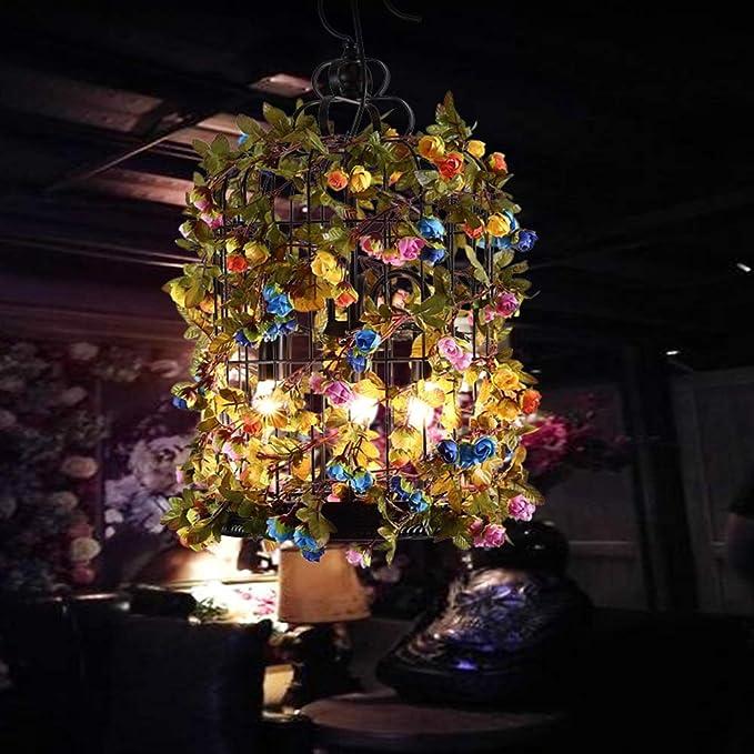 YUN Light@ Lámpara Colgante de Techo Luz Retro Planta Artificial ...