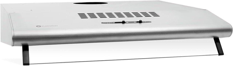 Klarstein UW60SR Campana extractora (205 m³/h Capacidad de extracción, 60 cm de Ancho, Funcionamiento silencioso, 2 filtros extraíbles de Aluminio Lavables, Acero Inoxidable)