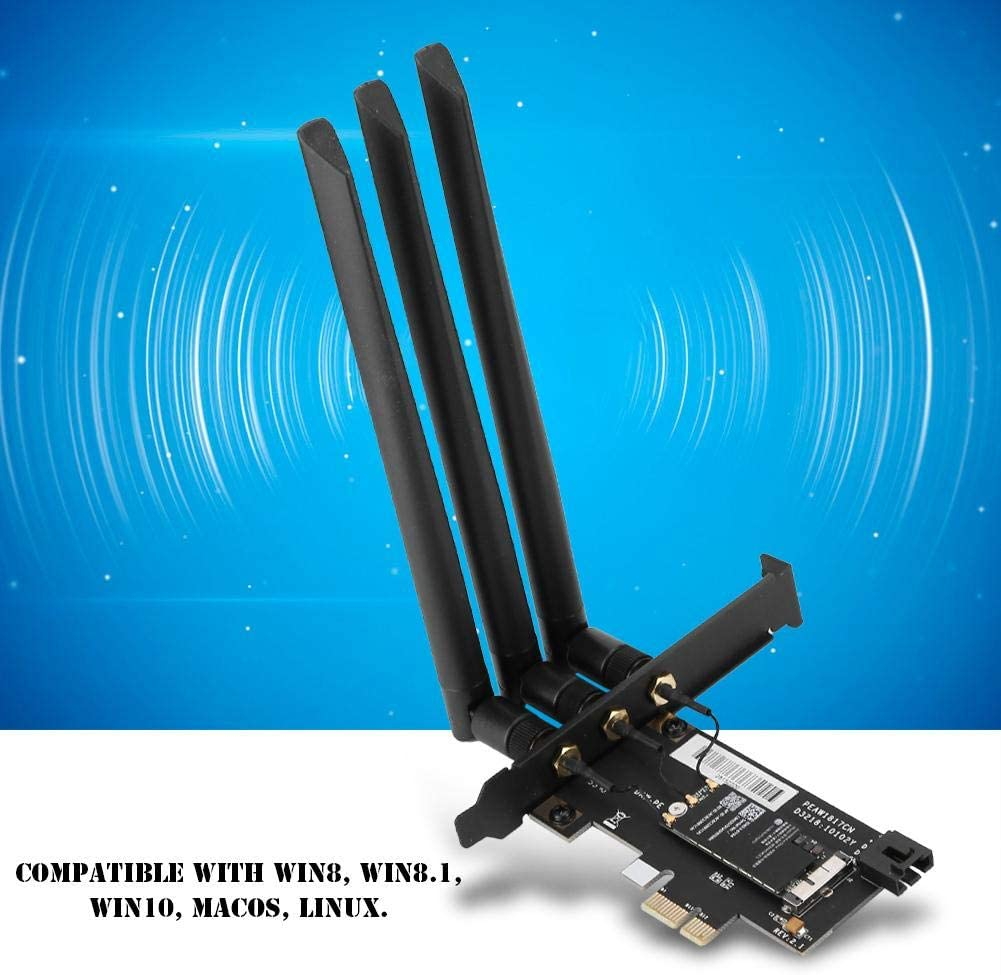 Redxiao Wireless Card 1300Mbps Bluetooth 4.1 PCI-E Practical Durable for Notebook Laptop Desktop Computer Network Card
