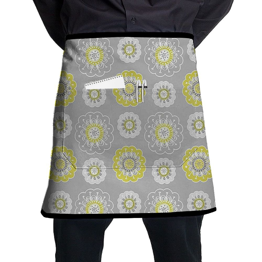 Guiping Light Grey Backdrop With Indian Inspired Flowers Ivy Kitchen Apron With Pockets For Men And Women