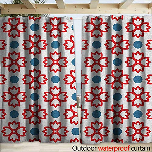 - warmfamily Floral Porch Curtains Abstract European Traditional Polka Dots Symmetrical Natural Inspiration W120 x L84 Slate Blue Red White