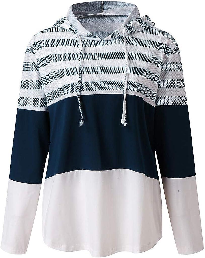 Hadeflia Womens Hoodie Sweatshirt Ladies Striped Color Block Drawstring Top Casual Long Sleeve Irregular Blouse