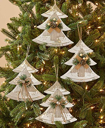 The Lakeside Collection Set of 4 Farmhouse Country Christmas Oversized Tree Ornaments -]()