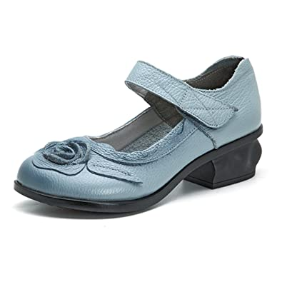 Socofy Damen Leder Slipper, Leder Mokassins Blume Loafers Flache Schuhe  Vintage Flats Bootsschuhe Casual Slip 8c8f6acda2