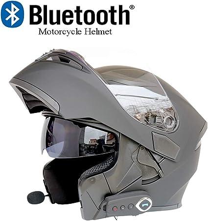 SOMAN Casque Moto Moto Bluetooth Modular Flip Up Front Helmets Dot Certification Double Miroir Anti-bu/ée avec r/éponse Automatique FM,qualit/é de Son st/ér/éo,Noir Mat,MatteBlack,M57CM~58CM