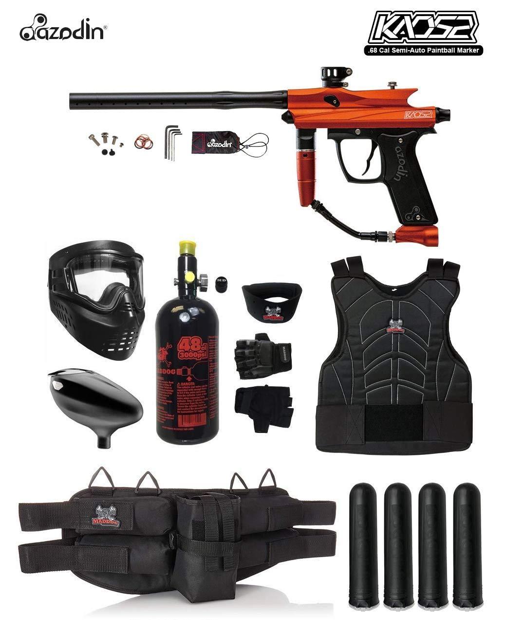 MAddog Azodin KAOS 2 Starter Protective HPA Paintball Gun Package - Orange/Black