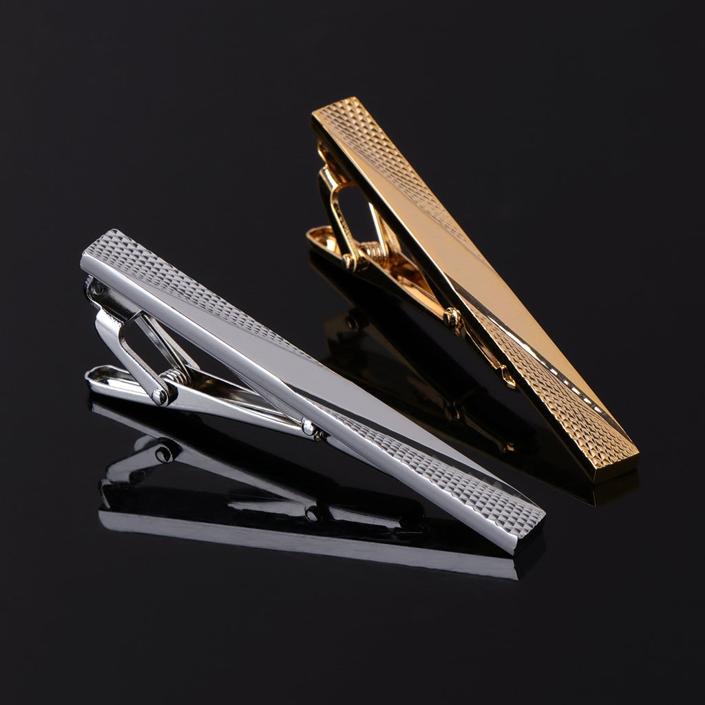 Simdoc 2pcs Men Mixed Color Alloy Fashion Classic Style Tie Clip
