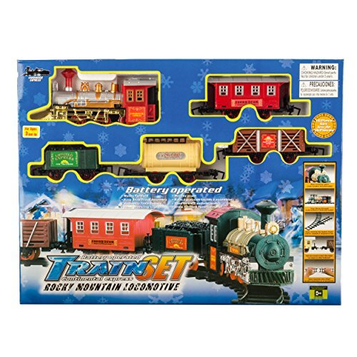 16Pcs Classic Train Set  Holiday Train Toy  Battery Operated Express Mountain Rocky Train Play Set With Authentic Train Sounds And Lights