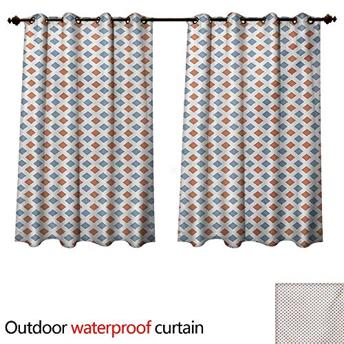 Border Bold Big (WilliamsDecor Modern Outdoor Balcony Privacy Curtain Geometrical Image with Colorful Rhombus and Bold Borders Image Print W84 x L72(214cm x 183cm))