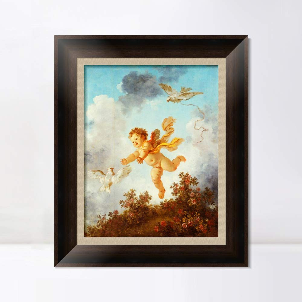 """INVIN ART Framed Canvas Art Giclee Print Love Pursuing a Dove, 1790 by Jean Honore Fragonard Wall Art Living Room Home Office Decorations(Vintage Brown Frame with Linen Liner,20""""x24"""")"""