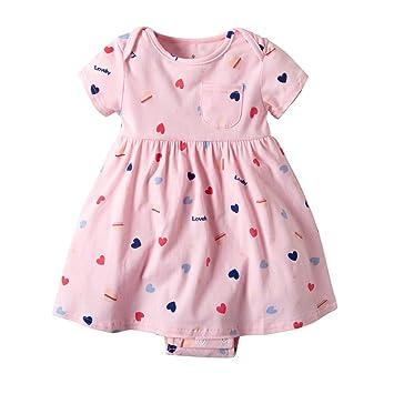 b19b88025fbb Amazon.com   Baby Girls Floral Print Princess Dress Romper Short ...