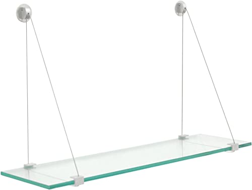 Clear Hanging Glass Shelf 10 X 48 Brushed Steel Finish