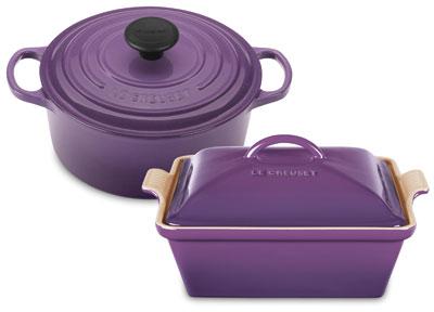 Le Creuset Signature Cast Iron Round Dutch Oven with Bonus Stoneware Baker, 3.5-quart Cassis | cutleryandmore.com