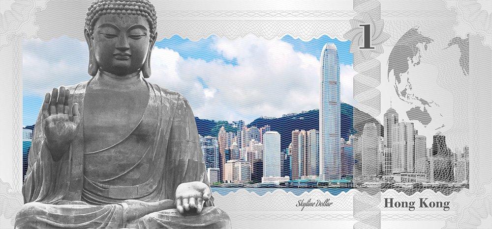SINGAPORE Skyline Dollars Foil Silver Note 1$ Cook Islands 2017