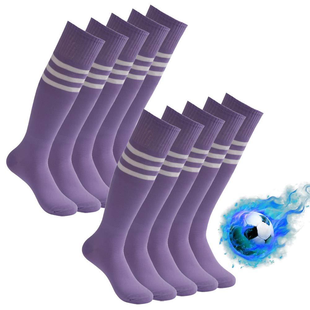Baseball Long Socks, Atrest Adult Youth Knee Length Team Sport Soccer Softball Football Tube Socks Athletic Sweat Absorbing Long Training Socks Purlple+White Stripe 10 Pairs by Atrest