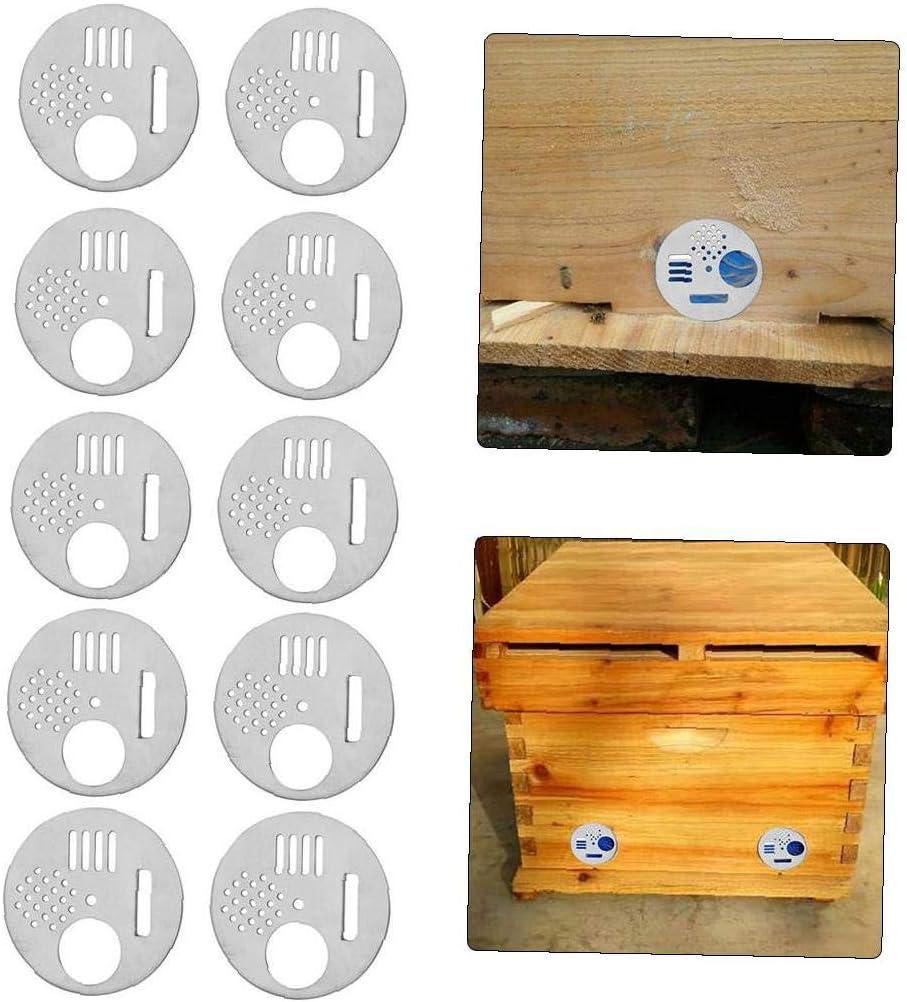 Bee Box Door Bee Hive Entrance Gate Disc Door Beehive Vent Equipment Bee Nest Door Stainless Steel Beekeeping Tool Silver 10pcs