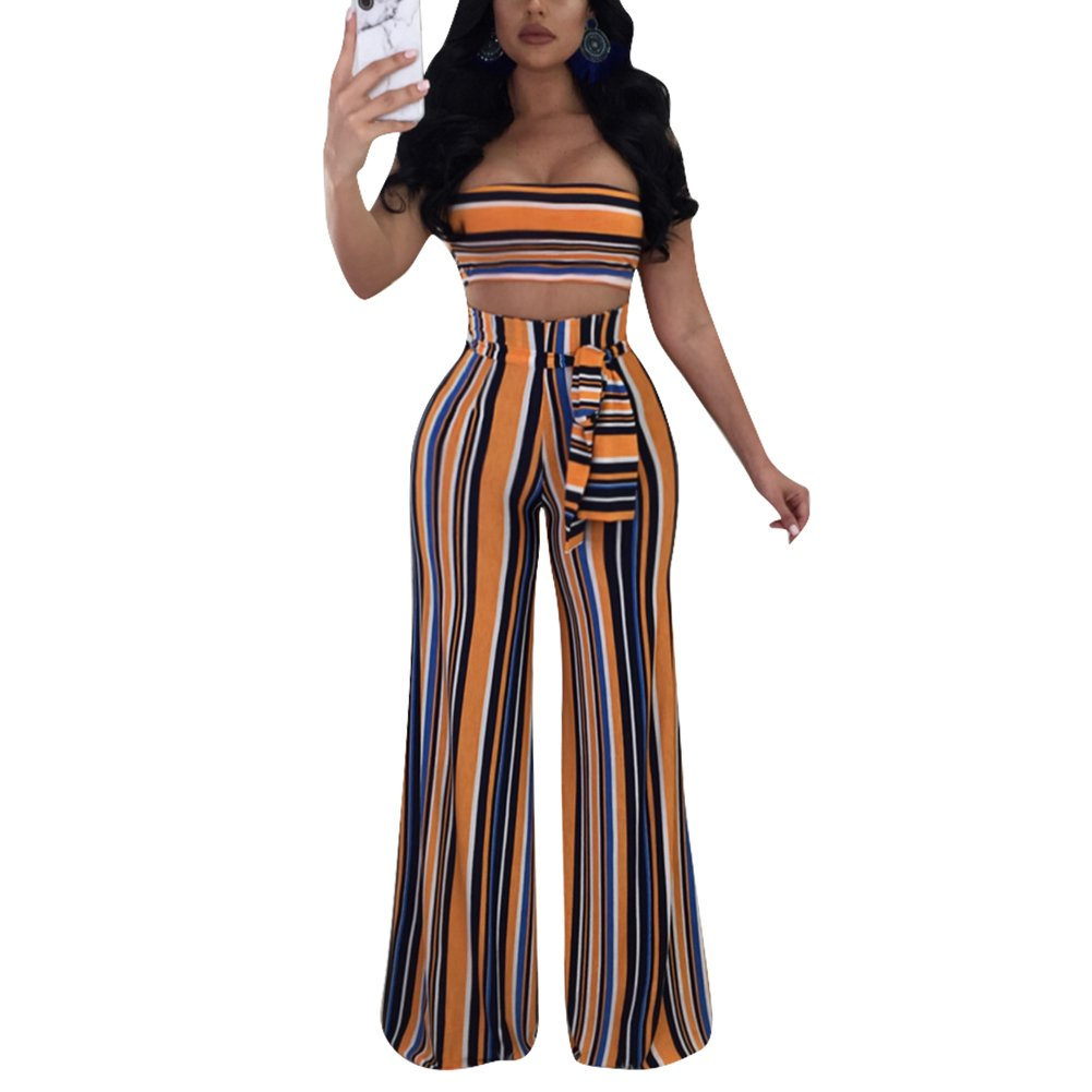 MS Mouse Womens Sexy 2 Pieces Stripe Outfits Rainbow Crop Top Wide Leg Pants XL