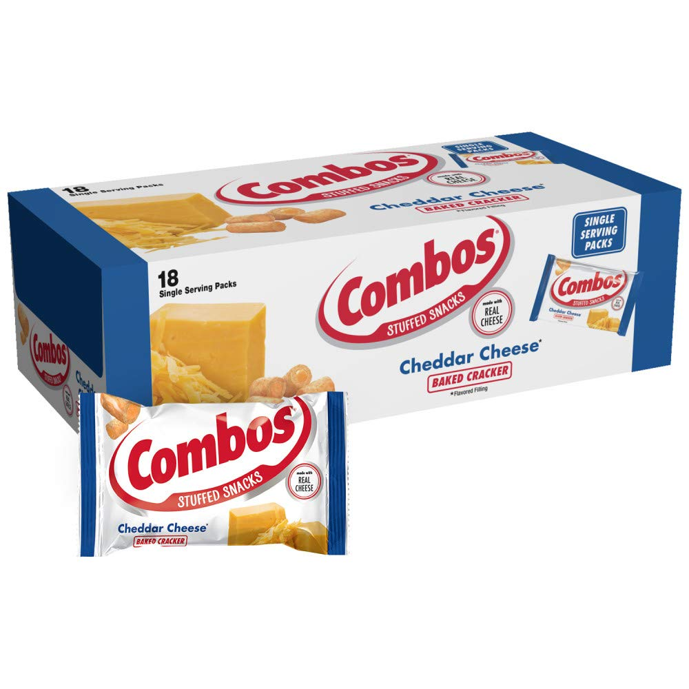COMBOS Cheddar Cheese Cracker Baked Snacks 1.7-Ounce Bag 18-Count Box