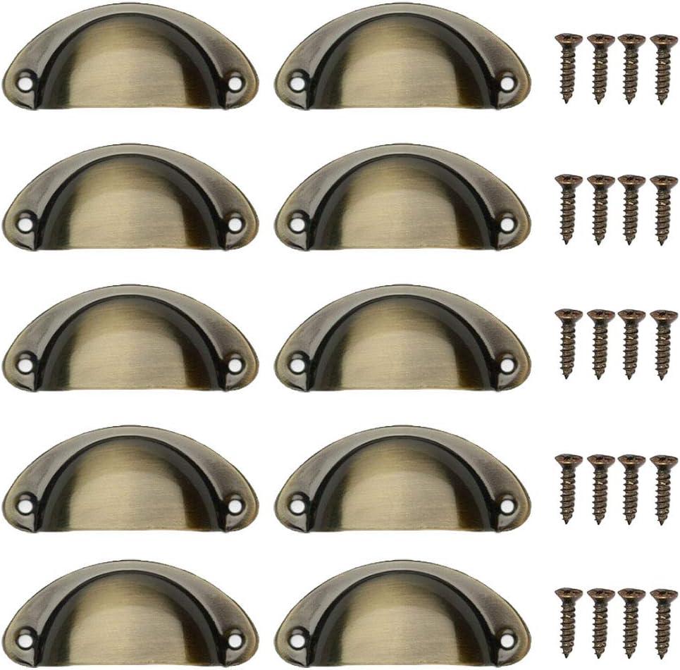 KINDPMA 10pcs Tirador Bronce Vintage con Empulgueras Estilo Retro Bronce Tiradores para Puertas Lat/ón Antiguo en Forma de Concha para Muebles Armarios Cajones Armarios Puertas