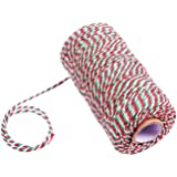 KINGLAKE 328 Feet Christmas Holiday Twine,Cotton Baker's Twine Arts Crafts Cotton Twine,Durable Packing Twine,Red Green and White String