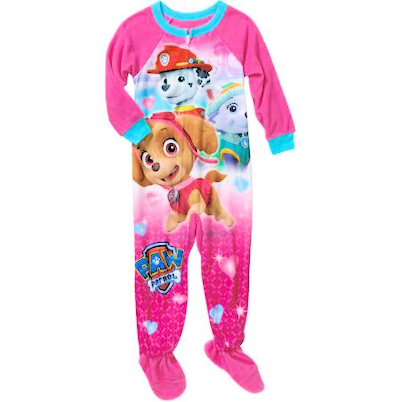 Paw Patrol Sky and Marshall Little Girls Footed Blanket Sleeper Pajama Everest