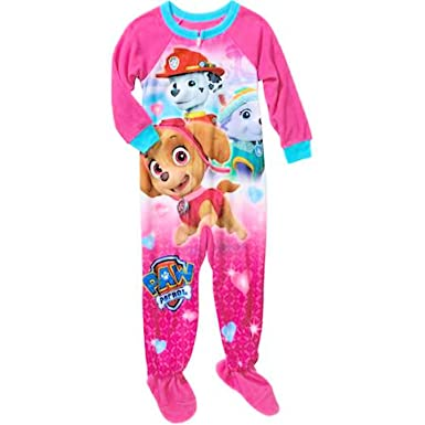 4aa21cf25c958 Paw Patrol Sky, Everest, and Marshall Little Girls Footed Blanket Sleeper  Pajama (3T