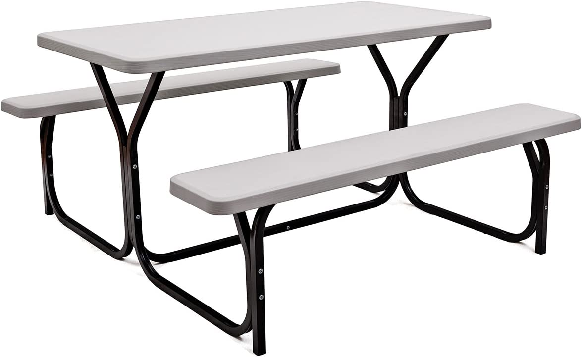 Giantex Picnic Table Bench Set Outdoor Camping All Weather Metal Base Wood-Like Texture Backyard Poolside Dining Party Garden Patio Lawn Deck Large Camping Picnic Tables for Adult (White): Kitchen & Dining