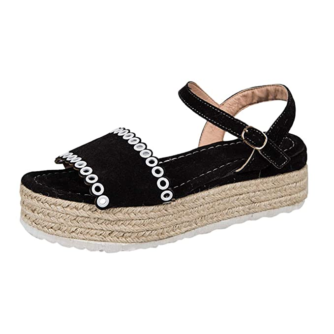 bd9a2cb14cb Moonker Women Girls Fashion Platform Flat Sandals Summer Casual Shoes Ladies  Open Toe Buckle Strap Beach