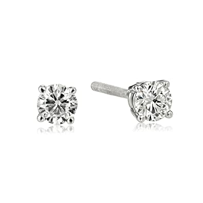 dp carat stud earrings platinum amazon diamond back color princess prong cut com solitaire screw