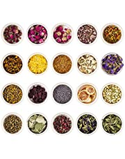 KisSealed 20 Pack Natural Dried Flowers and Herbs Kit for Soap Making, Rose Buds Jasmine Lavender Dry Flower Petals and More for Candles, Resin Jewelry, Bath, Nail Lip Gloss Making &Home Decoration (10g each pack)