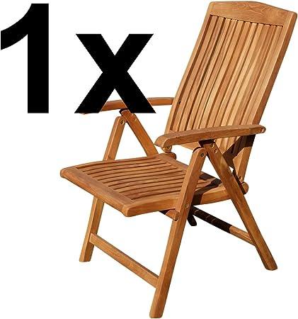 ASS Teak Design Hochlehner Gartensessel Gartenstuhl Sessel Holzsessel Klappsessel Gartenmöbel Holz sehr robust 7fach verstellbar Modell: JAV Tobago