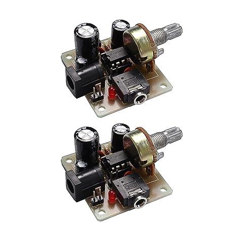 MagiDeal 2 Piezas DIY Kit 3V-12V LM386 Mini Amplificador Junta ICSK025A Poder Electrónico