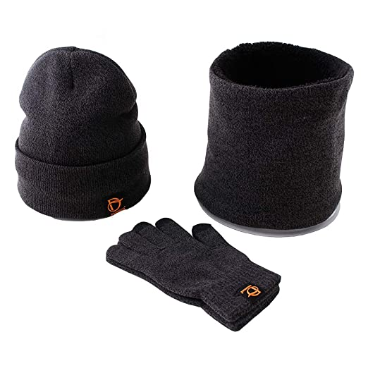 Men Women Winter Warm Beanie Hat Neck Gaiter Scarf Touch Screen Gloves 3PCS  Set (Dark 0032415a6c65